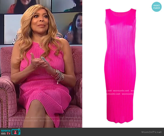 Plisse-effect Midi Dress by Pleats Please Issey Miyake worn by Wendy Williams  on The Wendy Williams Show