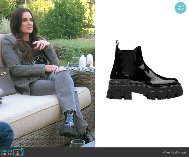 Monolith Patent Leather Booties by Prada worn by Kyle Richards  on The Real Housewives of Beverly Hills