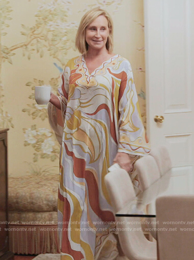 Sonja's printed kaftan on The Real Housewives of New York City