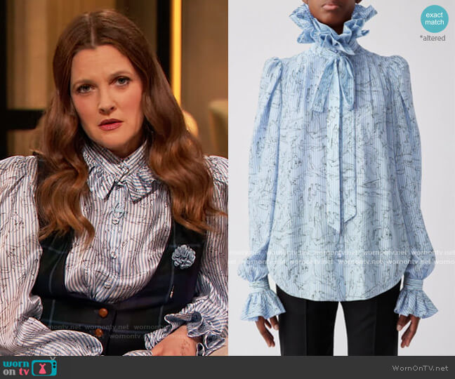 Silk Medici Blouse by Prune Gold Schmidt worn by Drew Barrymore  on The Drew Barrymore Show
