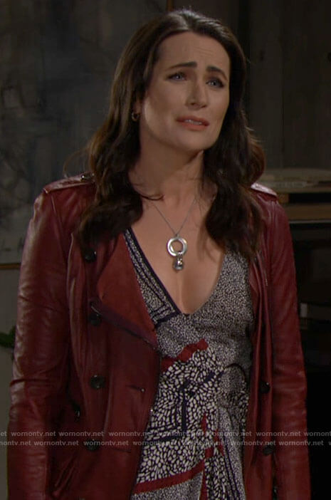 Quinn's red leather jacket with ruffles on The Bold and the Beautiful