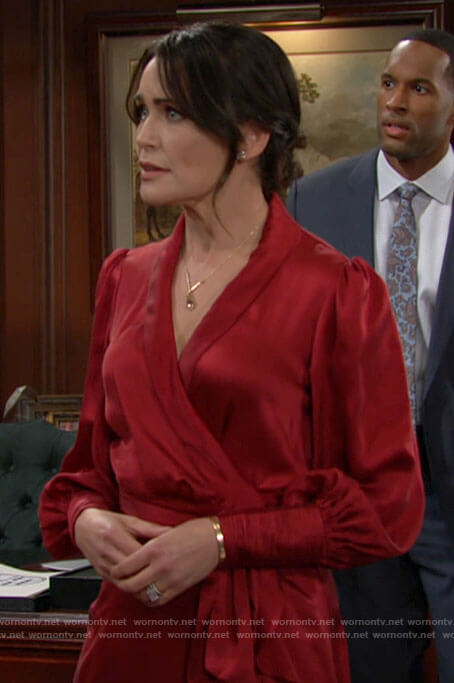 Quinn's red wrap dress on The Bold and the Beautiful