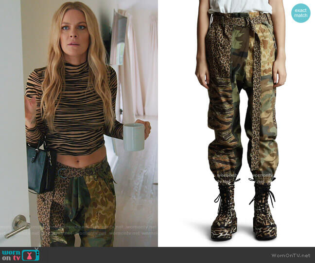 Mixed Print Paperbag Pants by R13 worn by Leah McSweeney  on The Real Housewives of New York City