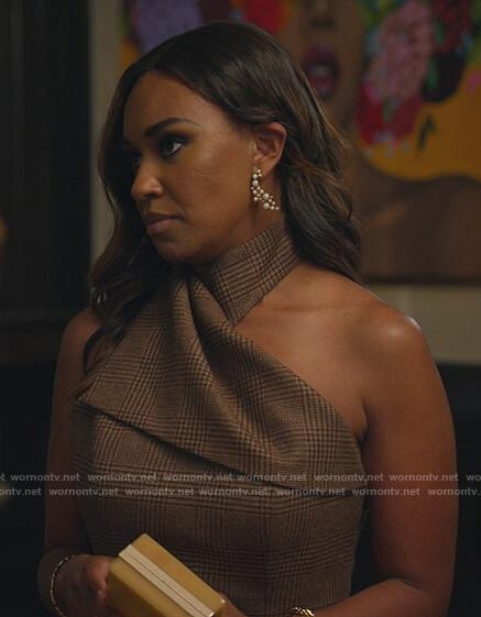 Rachel's brown plaid halter dress on All Rise