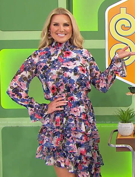 Rachel's floral asymmetric ruffled dress on The Price is Right
