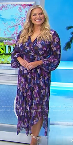 Rachel's purple floral pleated dress on The Price is Right