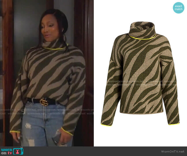 Kiki Zebra-Print Funnel-Neck Sweater by Rag & Bone worn by Garcelle Beauvais  on The Real Housewives of Beverly Hills