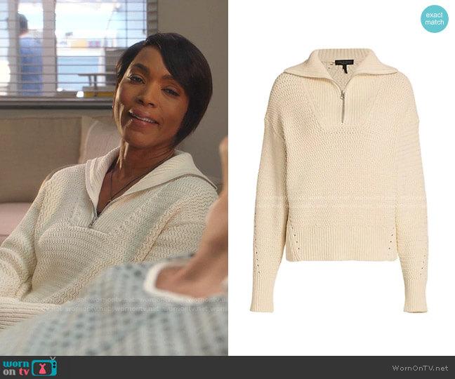 Lena Half Zip Pullover by Rag & Bone worn by Athena Grant (Angela Bassett) on 9-1-1