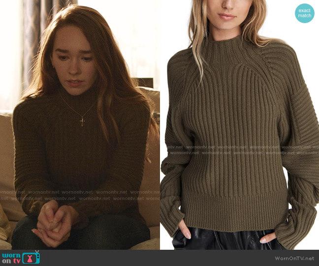 Oakes Mock Neck Merino Wool Sweater by Rag & Bone worn by Angelina Meyer (Holly Taylor ) on Manifest