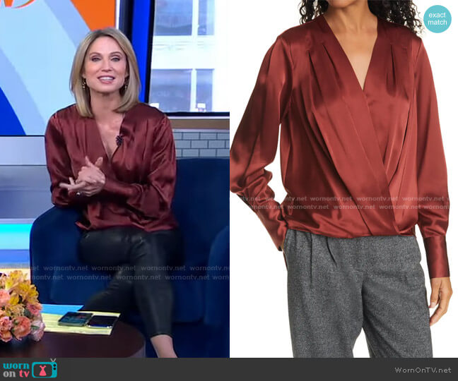 Lei Wrap Front Silk Blouse by Rag & Bone worn by Amy Robach  on Good Morning America