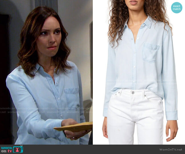 Ingrid Raw Hem Chambray Shirt by Rails worn by Gwen Rizczech (Emily O'Brien) on Days of our Lives