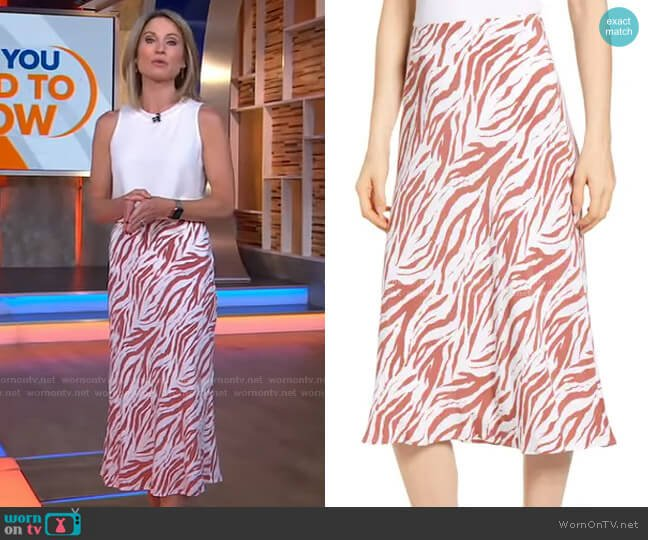 London Zebra Printed Midi Skirt by Rails worn by Amy Robach  on Good Morning America