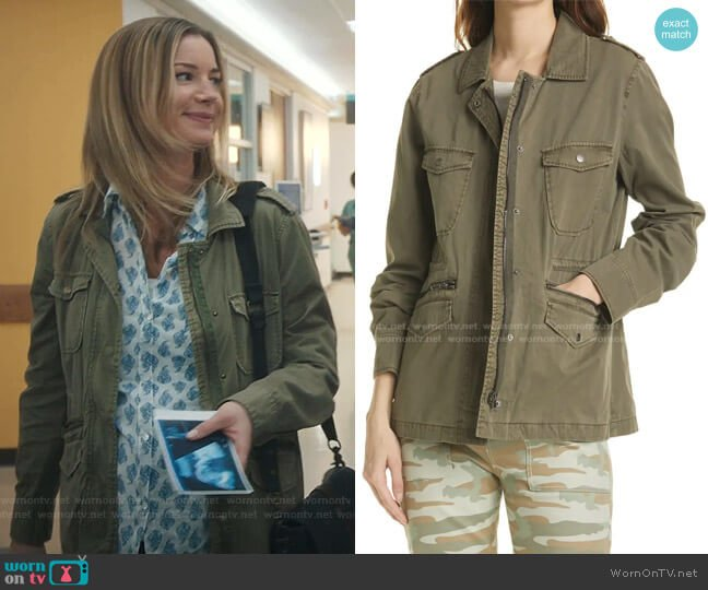 Miller Cotton Military Jacket by Rails worn by Nicolette Nevin (Emily VanCamp) on The Resident