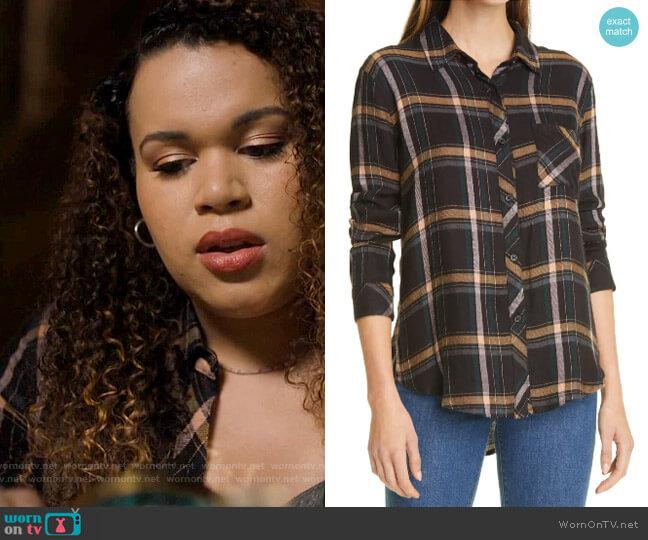 Rails Hunter Shirt in Midnight Teal / Mustard worn by Josefina Reyes (Mareya Salazar) on Charmed