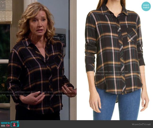 Rails Hunter Shirt in Midnight Teal / Mustard worn by Vanessa Baxter (Nancy Travis) on Last Man Standing