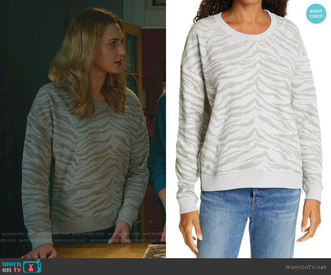Marlo Zebra Zip Sweatshirt by Rails worn by Joy Harper (Katherine Barrell) on Good Witch