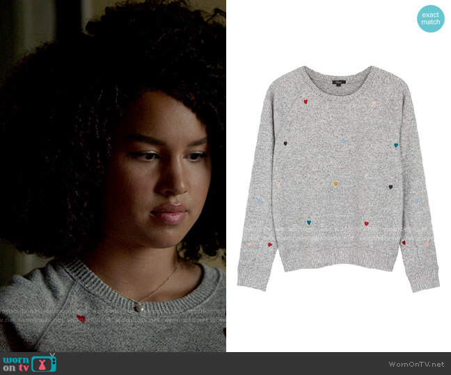 Rails Mika Embroidered Hearts Sweatshirt worn by Gina (Sofia Wylie) on High School Musical The Musical The Series