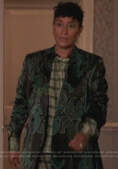 Rainbow's green floral blazer on Black-ish