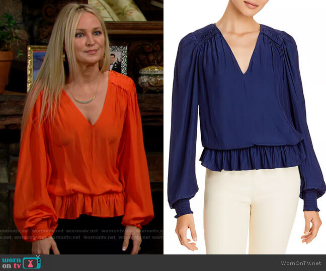Ramy Brook Melissa Blouse worn by Sharon Collins (Sharon Case) on The Young & the Restless