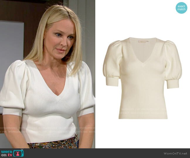 Ramy Brook Rory Cashmere T-Shirt worn by Sharon Collins (Sharon Case) on The Young & the Restless
