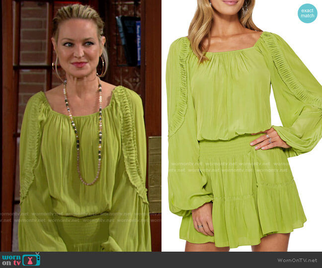 Ramy Brook Silvy Dress in Aloe worn by Sharon Collins (Sharon Case) on The Young & the Restless