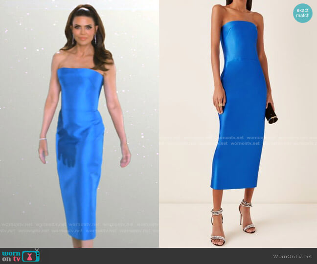 Satin Midi Dress by Rasario worn by Lisa Rinna  on The Real Housewives of Beverly Hills