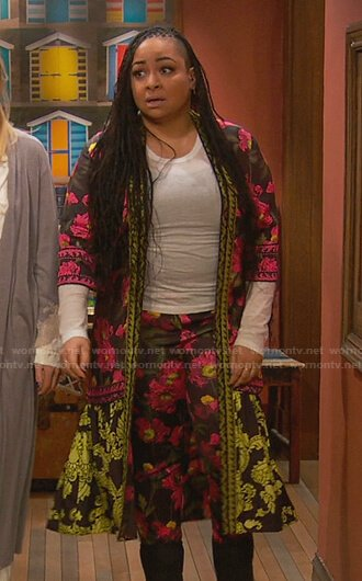 Raven's floral robe and pants on Ravens Home