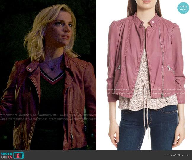 Rebecca Taylor Garment Washed Leather Moto Jacket worn by Sylvie Brett (Kara Killmer) on Chicago Fire