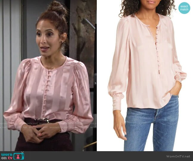 Rebecca Taylor Stripe Jacquard Silk Blend Blouse worn by Lily Winters (Christel Khalil) on The Young & the Restless