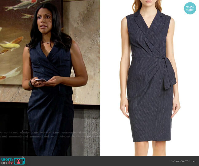 Tailored by Rebecca Taylor Pinstripe Sleeveless Dress worn by Amanda Sinclair (Karla Mosley) on The Young & the Restless