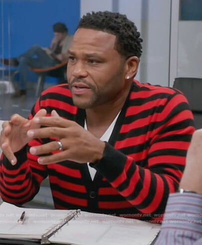 Andre's red stripe cardigan on Black-ish