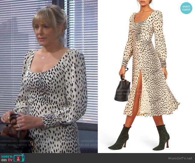 Alessi Cheetah Print Long Sleeve Dress by Reformation worn by Nicole Walker (Arianne Zucker) on Days of our Lives