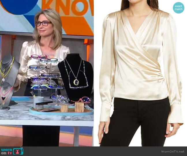 Fawn Silk Blouse by Reformation worn by Amy Robach  on Good Morning America