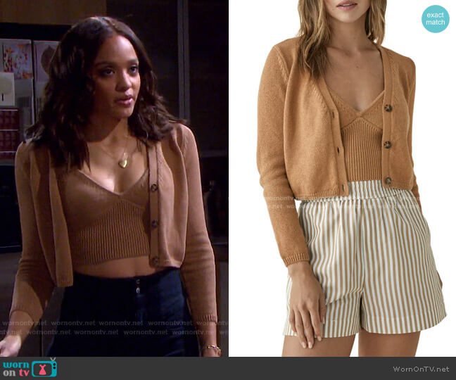 Tille Organic Cotton Tank & Cardigan Set by Reformation worn by Lani Price (Sal Stowers) on Days of our Lives