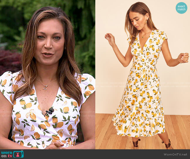 Apricot Wrap Dress in Lemon print by Reformation worn by Ginger Zee  on Good Morning America