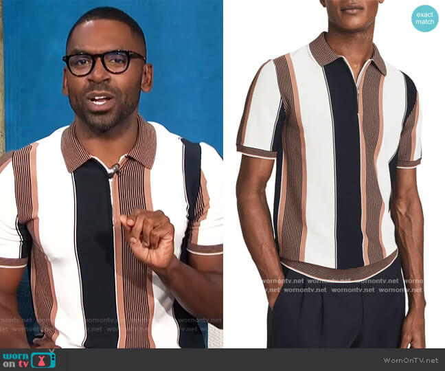 Nicky Polo Shirt by Reiss worn by Justin Sylvester  on E! News