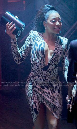 Renee's leopard print plunge neck dress on Run the World
