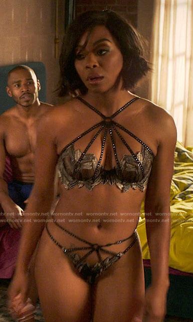 Renee's studded metallic lingerie on Run the World