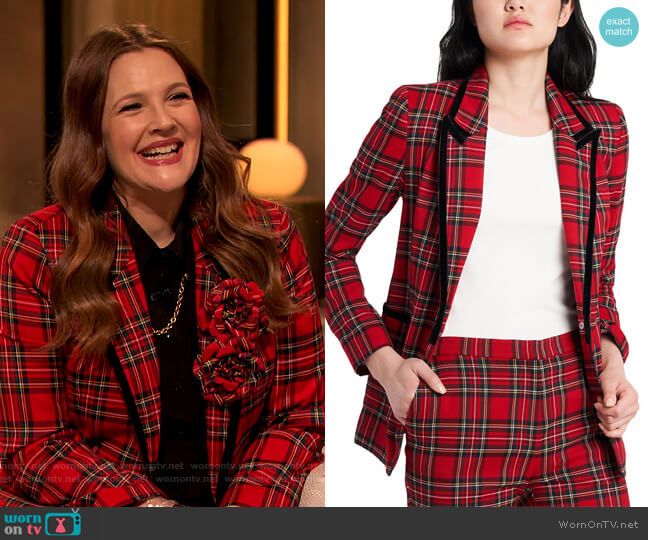 Hudson Plaid Jacket and Pants by Riley and Rae worn by Drew Barrymore  on The Drew Barrymore Show