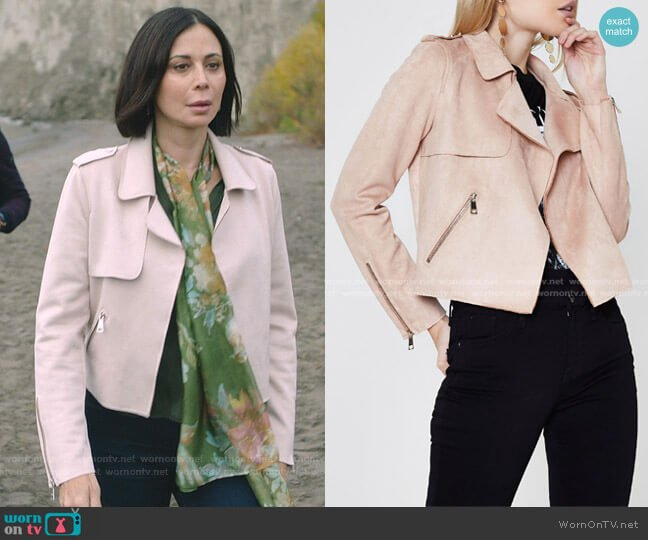 Faux Suede Trench Jacket by River Island worn by Cassandra Nightingale (Catherine Bell) on Good Witch