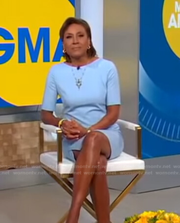 Robin's blue short sleeve sheath dress on Good Morning America