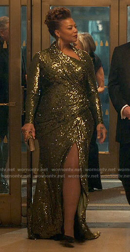 Robyn's sequin asymmetric gown on The Equalizer