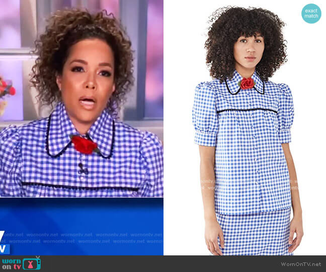 Gingham Puff Sleeve Blouse with Lace Trim by Rodarte worn by Sunny Hostin  on The View