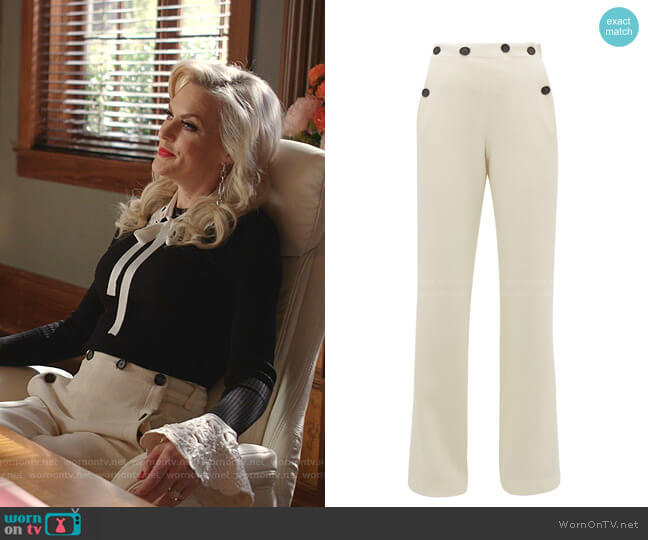 Palmetto Wide-Leg Trousers by Roland Mouret worn by Alexis Carrington (Elaine Hendrix) on Dynasty