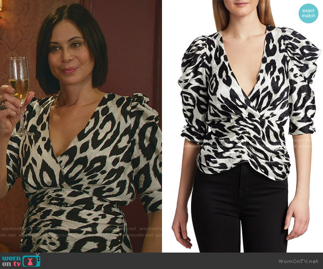 Liliana Leopard Print Top by Ronny Kobo worn by Cassandra Nightingale (Catherine Bell) on Good Witch