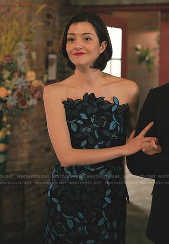 Rose's blue floral lace dress on Zoeys Extraordinary Playlist