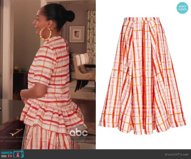 Pleated Plaid Cotton-Blend Midi Skirt by Rosie Assoulin worn by Rainbow Johnson (Tracee Ellis Ross) on Blackish
