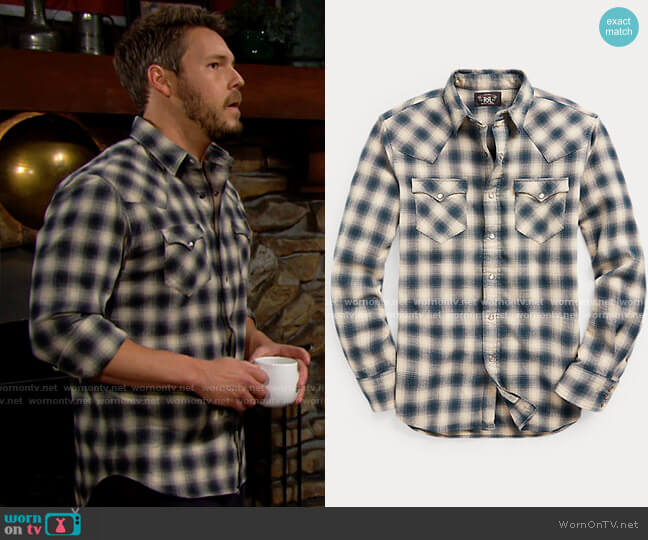 RRL Slim Fit Plaid Brushed Western Shirt worn by Liam Spencer (Scott Clifton) on The Bold & the Beautiful