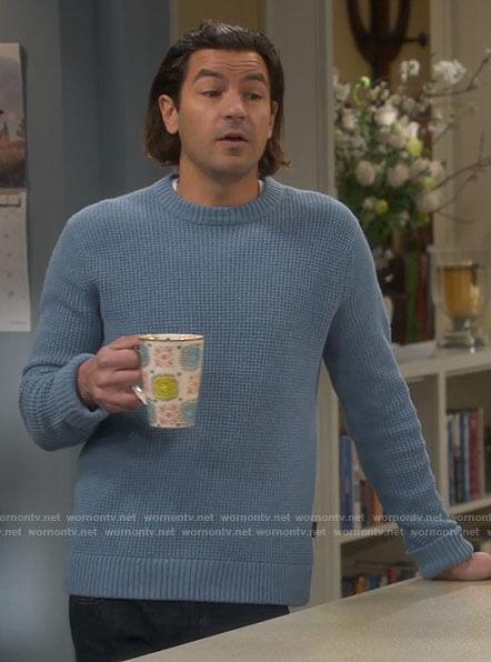 Ryan's blue sweater on Last Man Standing