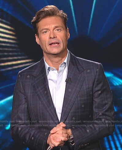Ryan's plaid bee print blazer and pants on American Idol